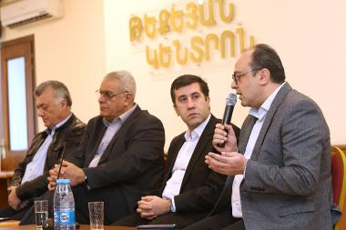 'Voskanapat' Analytical Center holds a panel discussion on the topic of 'Artsakh on the threshold of change. External and Internal Security' at the Tekeyan Center - Photolure News Agency