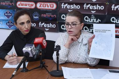 Former members of the Council of Elders Marina Khachatryan and founder of 'Paracelsus' NGO Nune Nersisyan gave a press conference in Hayeli press club - Photolure News Agency