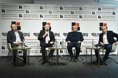 Members of 'Politeconomy' Research Institute hold a discussion on the topic of the 'Current stage of Russian-Turkish relations and its possible impact on Artsakh' at DoubleTree by Hilton Hotel - Photolure News Agency