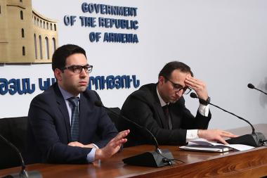 RA Minister of Health Arsen Torosyan and RA Minister of Justice Rustam Badasyan gives a press conference due to Coronavirus concerns and special situation declared in Armenia - Photolure News Agency