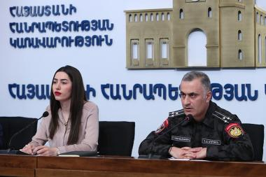 Deputy Chief of Police Hayk Mhryan and Head of the Department of Development of Anti-Corruption and Penitentiary Policies at the Ministry of Justice Arpine Sargsyan gave a press conference at the RA Government's press hall - Photolure News Agency