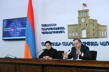 Deputy Foreign Minister of Armenia Avet Adonts gives a press conference at the RA Government's press hall - Photolure News Agency