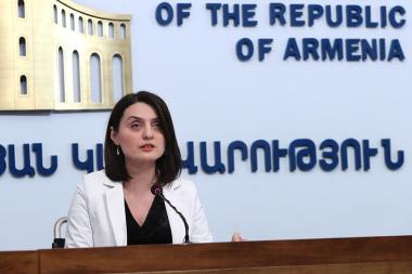 RA Minister of Labor and Social Affairs Zaruhi Batoyan gives a press conference at the RA Government's press hall - Photolure News Agency