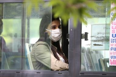 Face masks are compulsory on public transport starting from May 18 in Armenia due to coronavirus concerns (COVID-19). Yerevan, Armenia - Photolure News Agency