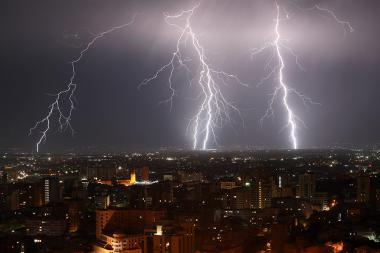 A lightning strikes are seen during a thunderstorm over the city of Yerevan, Armenia - Photolure News Agency