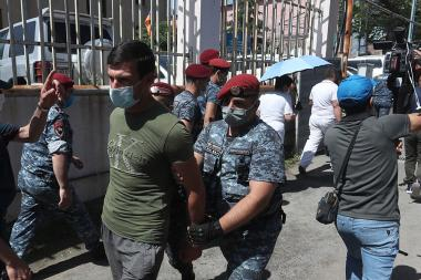 Clashes between the policemen and Gagik Tsarukyan's supporters took place during a protest action in front of the RA National Assembly - Photolure News Agency