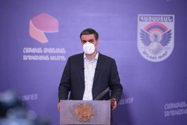 RA Human Rights Defender Arman Tatoyan gives a press conference on the topic of the military clashes in the northeastern part of the Armenian-Azerbaijani state border at the Crisis Information Center in Ijevan city in Tavush region of Armenia - Photolure News Agency