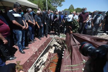 The funeral of Mayor Garush Hambardzumyan took place in 'Yerablur' military pantheon. He was deadly wounded during the clashes in the northeastern part of the Armenian-Azerbaijani state border, Tavush Province, Armenia - Photolure News Agency