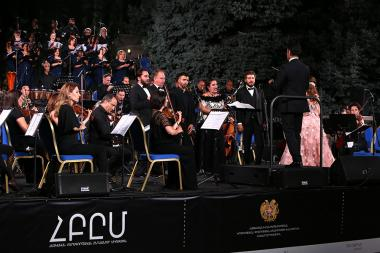 Verdi's Traviata opera was performed within the framework of 'Yerevan Perspectives' International Festival and Armenian National Philharmonic Orchestra at the RA National Assembly Garden in Yerevan, Armenia - Photolure News Agency
