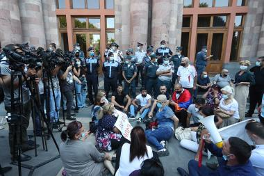 A protest action in front of the RA Government's building - Photolure News Agency