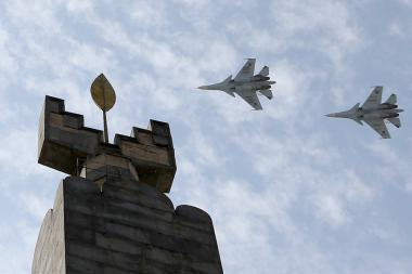 On the occasion of the 29th anniversary of the independence of the Republic of Armenia, the experienced military pilots of the RA Armed Forces carry out flights in the airspace of Yerevan, Armenia - Photolure News Agency