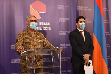 Representative of the RA Ministry of Defense Artsrun Hovhannisyan and representative of the RA at the ECHR Yeghishe Kirakosyan give a press conference at the Armenian unified infocenter - Photolure News Agency