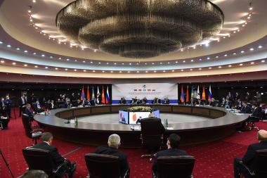 The sitting of the Eurasian Intergovernmental Council took place at the Karen Demirchyan Sports Complex in Yerevan, Armenia - Photolure News Agency
