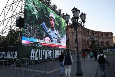 A billboard-size television screen on the Republic Square in Yerevan, Armenia - Photolure News Agency