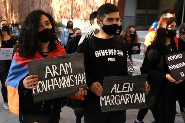 Young people in Yerevan are holding posters with the names of the victims in Artsakh - Photolure News Agency