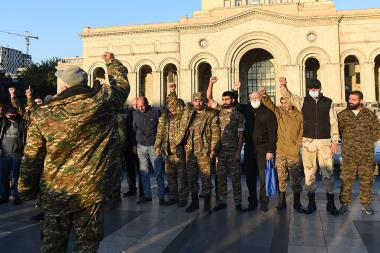 Soldiers and volunteers who came back from Artsakh's front line hold a protest action against the protesters of 17 opposition parties on Republic Square of Armenia - Photolure News Agency