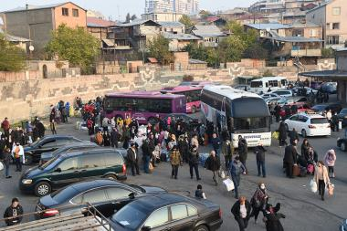 Artsakh people who temporarily moved to Yerevan due to the war, now are returning to Stepanakert from the southern bus station of Yerevan, Armenia - Photolure News Agency