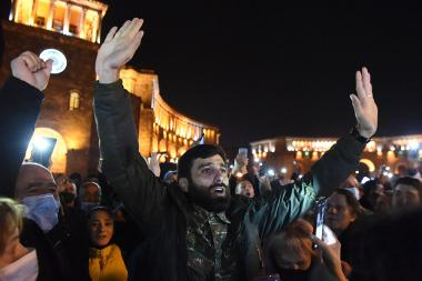 Supporters of the RA Prime Minister Nikol Pashinyan hold a protest action on Republic Square of Yerevan, Armenia - Photolure News Agency