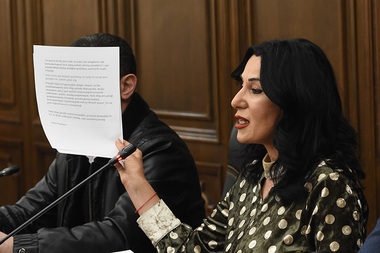 Members of the Prosperous Armenia Party holds a press conference at the RA National Assembly - Photolure News Agency