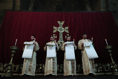 Christmas Eve Candlelight Divine Liturgy is served at the Saint Gayane church of Etchmiadzin, Armenia - Photolure News Agency