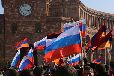 Members of 'Strong Armenia with Russia - for the sake of a new union' movement hold a protest march in the streets of Yerevan, Armenia - Photolure News Agency