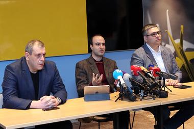 Deputy Director of the Second Armenian TV Channel Levon Sultanyan, Chief Producer Karen Hakobyan, Head of the 'Lraber' news program Shavarsh Gevorgyan give a press conference in 'Ibis' Yerevan Center - Photolure News Agency