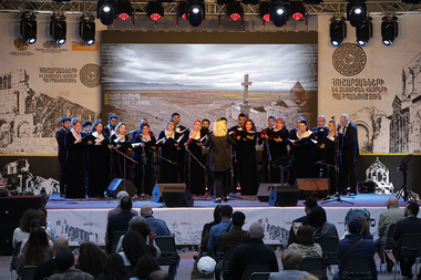 The open-air concert of the Armenian State Chamber Choir, 'Tagharan' ancient music ensemble, 'Agape' chamber choir and 'Folk-modern' orchestra took place near the St. Anna Church of Yerevan, Armenia - Photolure News Agency