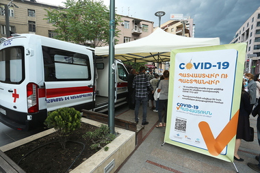 A mobile vaccination group formed in cooperation with the Ministry of Health and Yerevan Municipality was located on Northern Avenue of Yerevan, Armenia - Photolure News Agency