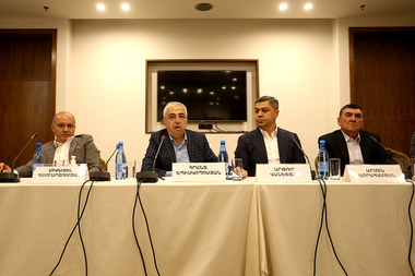 Members of the 'Union of Reserve Officers of the National Security Service' non-governmental organization gave a press conference on the topic of their goals and objectives at Radisson Blu Hotel of Yerevan, Armenia - Photolure News Agency