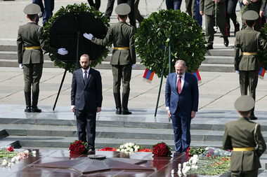 The 76th anniversary of the victory in the Great Patriotic War was marked near the eternal fire of the monument to the Unknown Soldier in the 'Victory' park of Yerevan, Armenia - Photolure News Agency