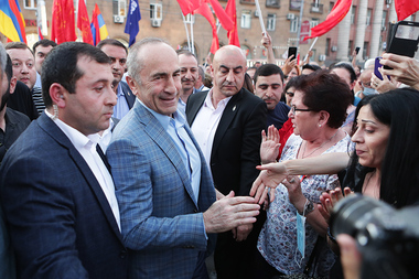 'Armenia' Alliance holds a protest action in front of Aram Manukyan's Statue in Yerevan, Armenia - Photolure News Agency