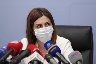 Acting Minister of Health Anahit Avanesyan gives a press conference on coronavirus disease and vaccinations at the RA Ministry of Health - Photolure News Agency