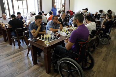A chess tournament took place between the wounded soldiers and RA National Assembly deputies at the 'Robert Abajyan' hall of the Soldiers' House in Yerevan, Armenia - Photolure News Agency
