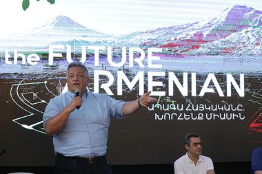 Co-initiators of the 'FUTURE ARMENIAN' movement Arthur Alaverdyan, Noubar Afeyan, Aram Bekchyan and Ruben Vardanyan hold a meeting in the park of the Center for Social Initiatives in Yerevan, Armenia - Photolure News Agency
