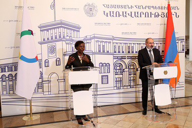 RA Prime Minister Nikol Pashinyan and Secretary General of the International Organization of La Francophonie Louise Mushikiwabo made a joint announcement - Photolure News Agency
