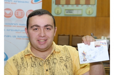 Cancellation of two new stamps entitled 'Armenia - Double Champion of the World Chess Olympiad' at the House of Chess, Yerevan - Photolure News Agency