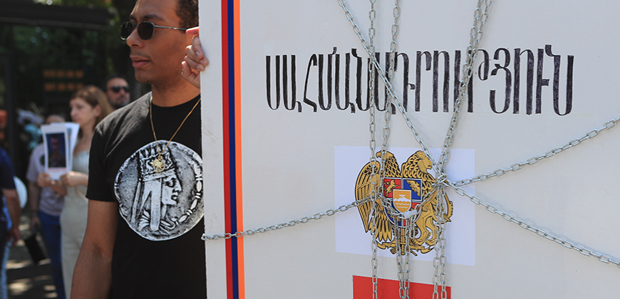 Freedom fighter Volodya Avetisyan and his friends hold a protest sit-in demanding freedom to the political prisoners on Freedom Square